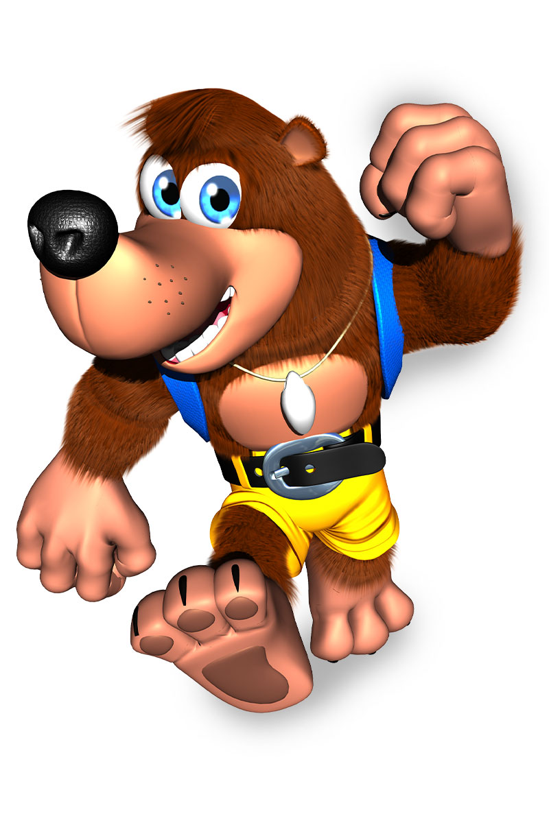 Banjo from Banjo & Kazooie strides confidently forward with a big smile.