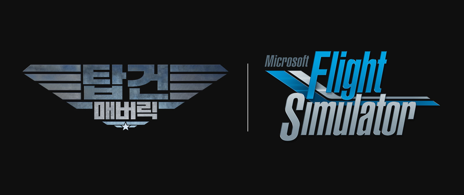 Microsoft Flight Simulator 로고 및 Top Gun 로고