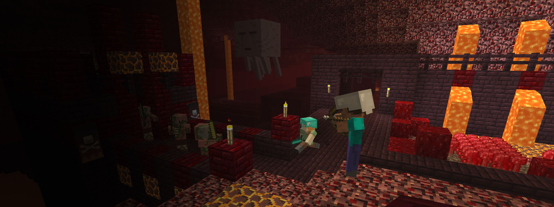 Two player characters engaged in battle with zombie pigmen.