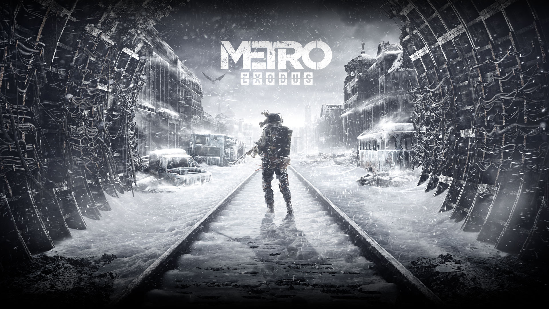 Metro Exodus, A man holding a gun stands on snow covered train tracks in a tunnel.