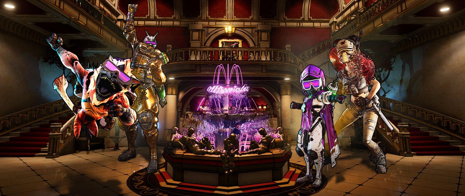 Différents personnages de Borderlands 3 devant une fontaine de néon où l'on peut lire Ultraviolet.