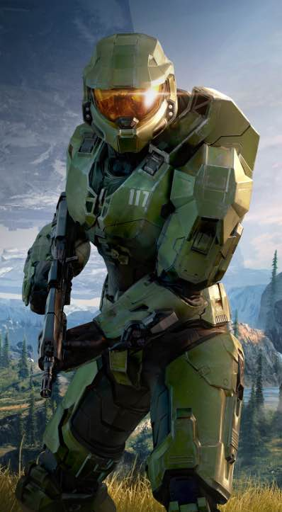 Halo Infinite Master Chief holding an assault rifle