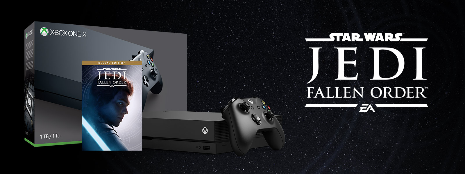 Xbox One X Star Wars Jedi: Fallen Order bundle art in front of mountains and a road with leaves