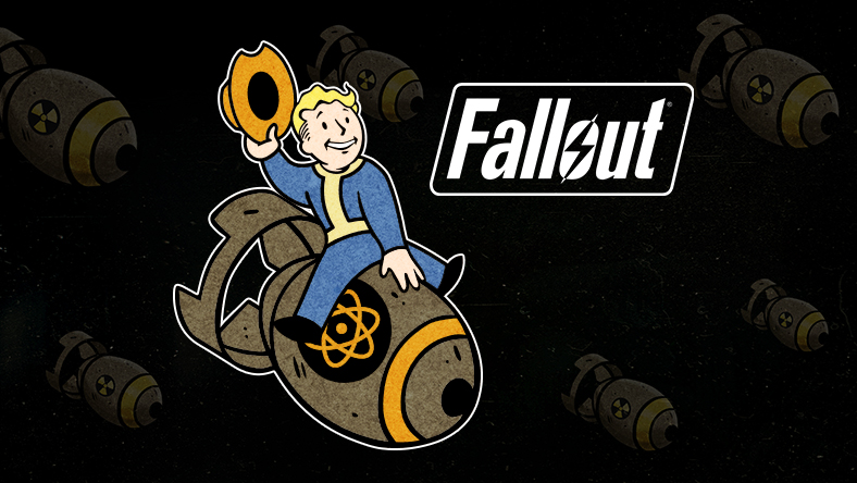 Vault Boy from Fallout riding on a bomb while tipping his hat.