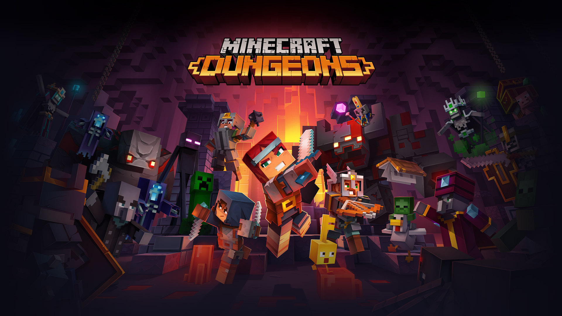 Minecraft Dungeons logo in front of all Minecraft characters fighting in a dungeon