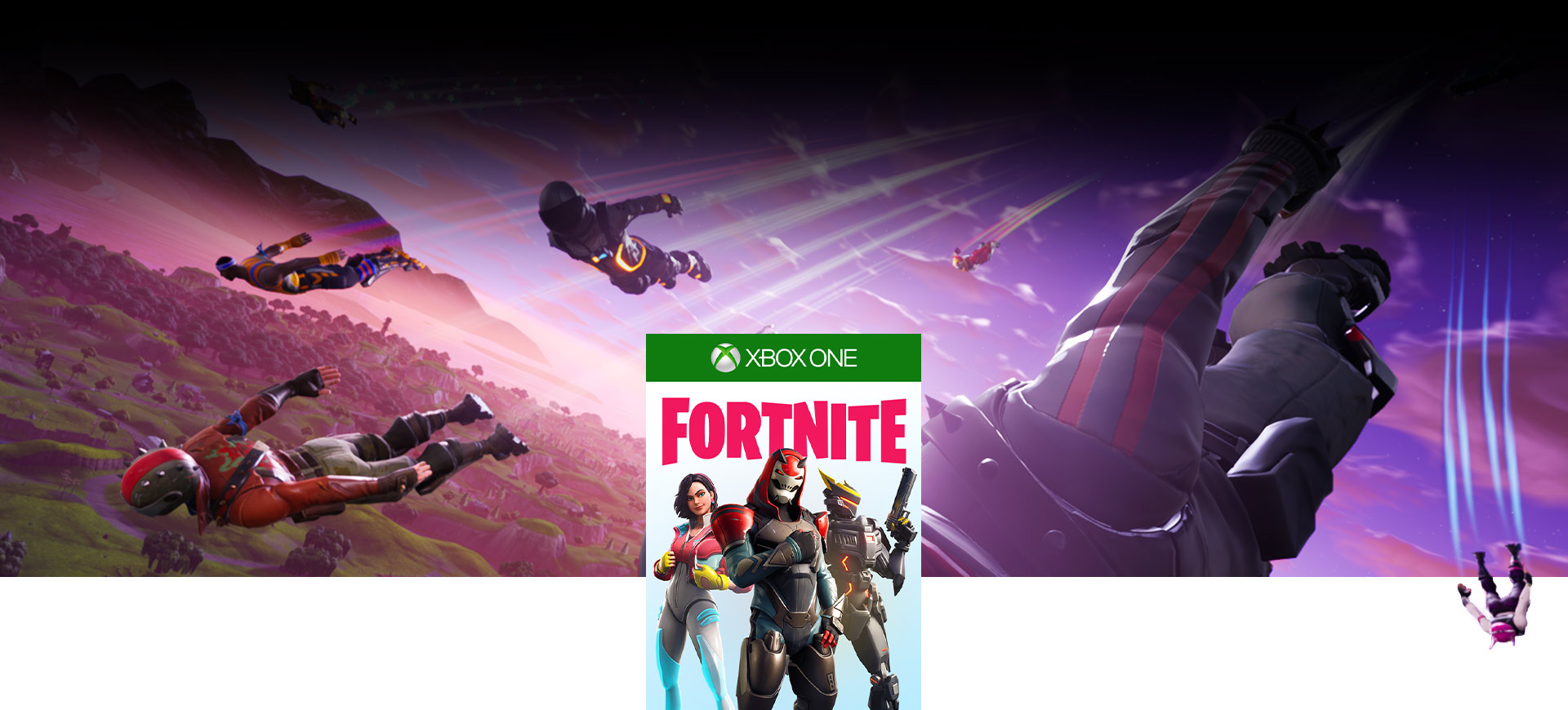 Fortnite boxshot, Fortnite characters skydiving