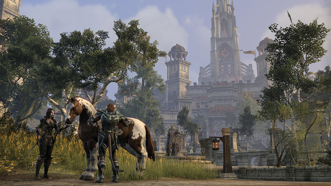 Two NPCs tend to a horse outside Elsweyr Gate in Cyrodiil
