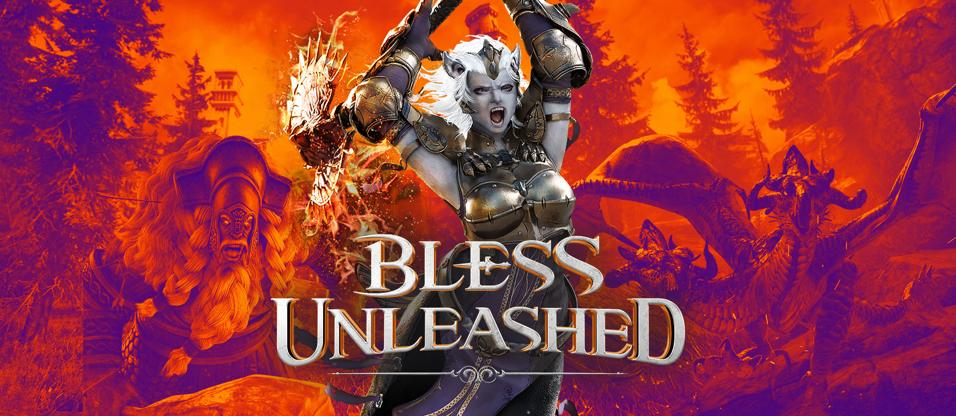 Bless Unleashed, female character in armor with a battle axe in front of a background of another character and a monster in orange and blue hues