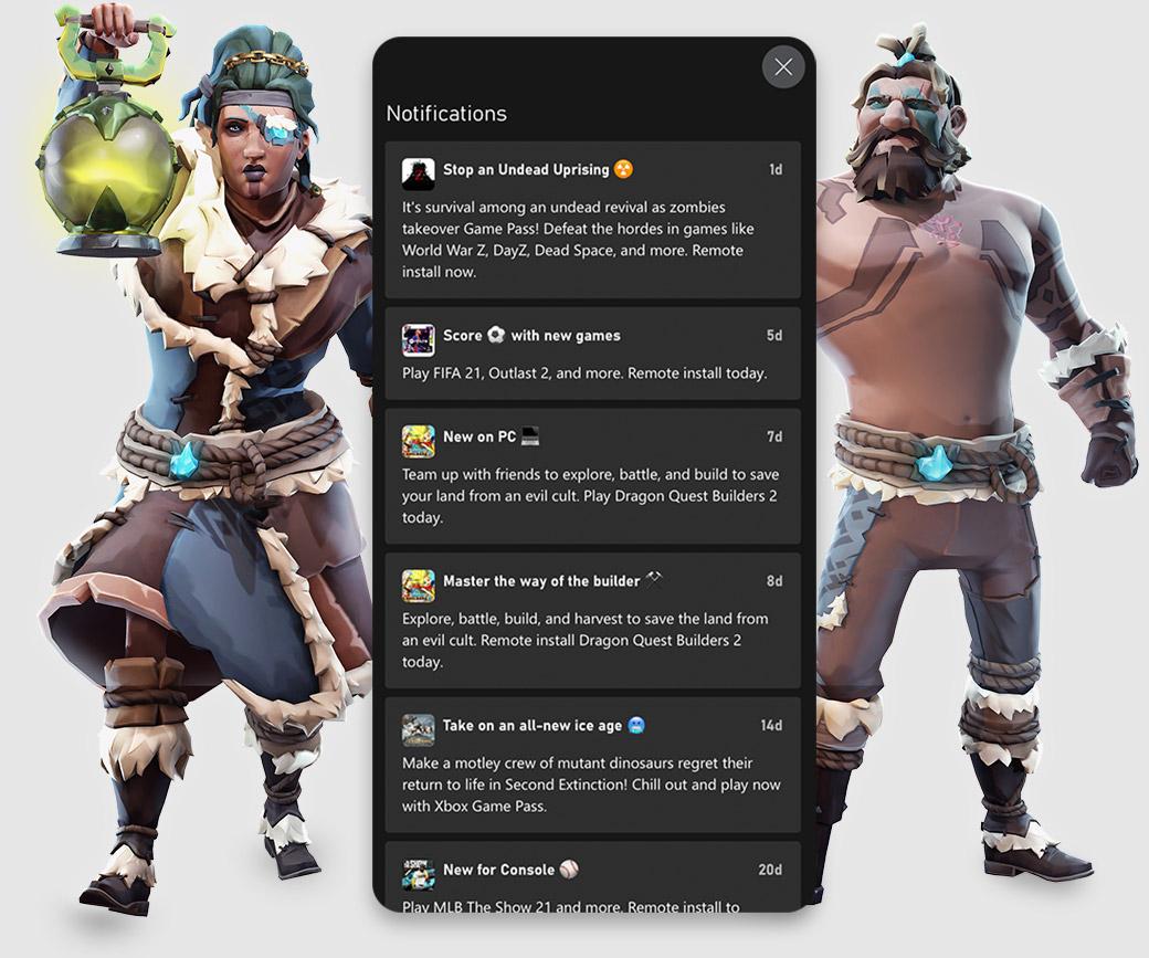 Xbox Game Pass-mobilappens brukergrensesnitt viser varsler om nye spill og nyheter