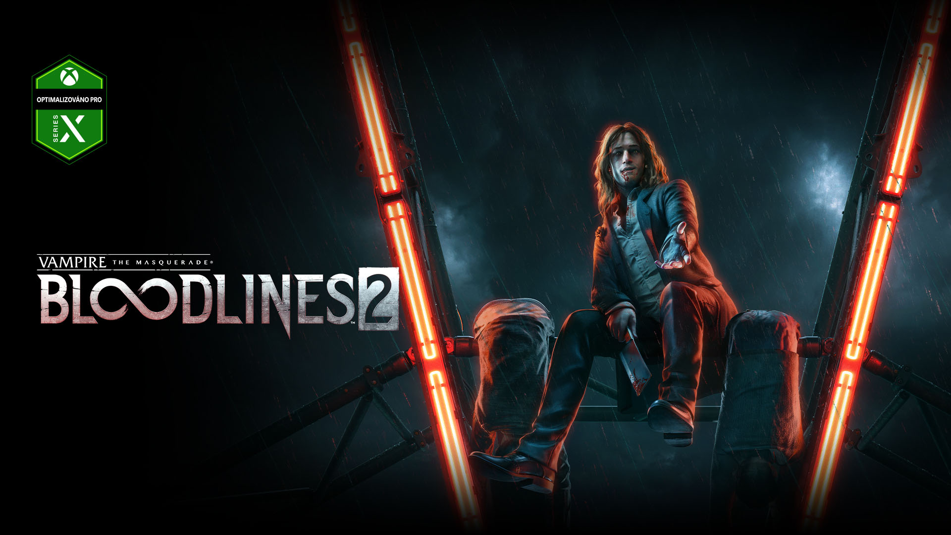 Vampire the Masquerade Bloodlines 2, Upír odpočívá na tyčích ruského kola a usmívá se.