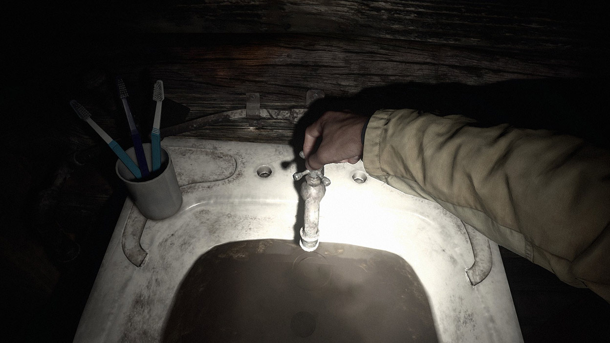 In first person a man turns on a sink