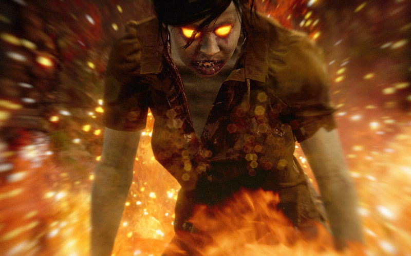 Choose your own Apocalypse, State of Decay logo and a zombie with fire eyes on a fiery background.