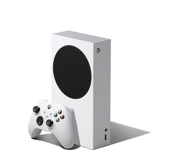 Left angle of the Xbox Series S with an Xbox wireless controller