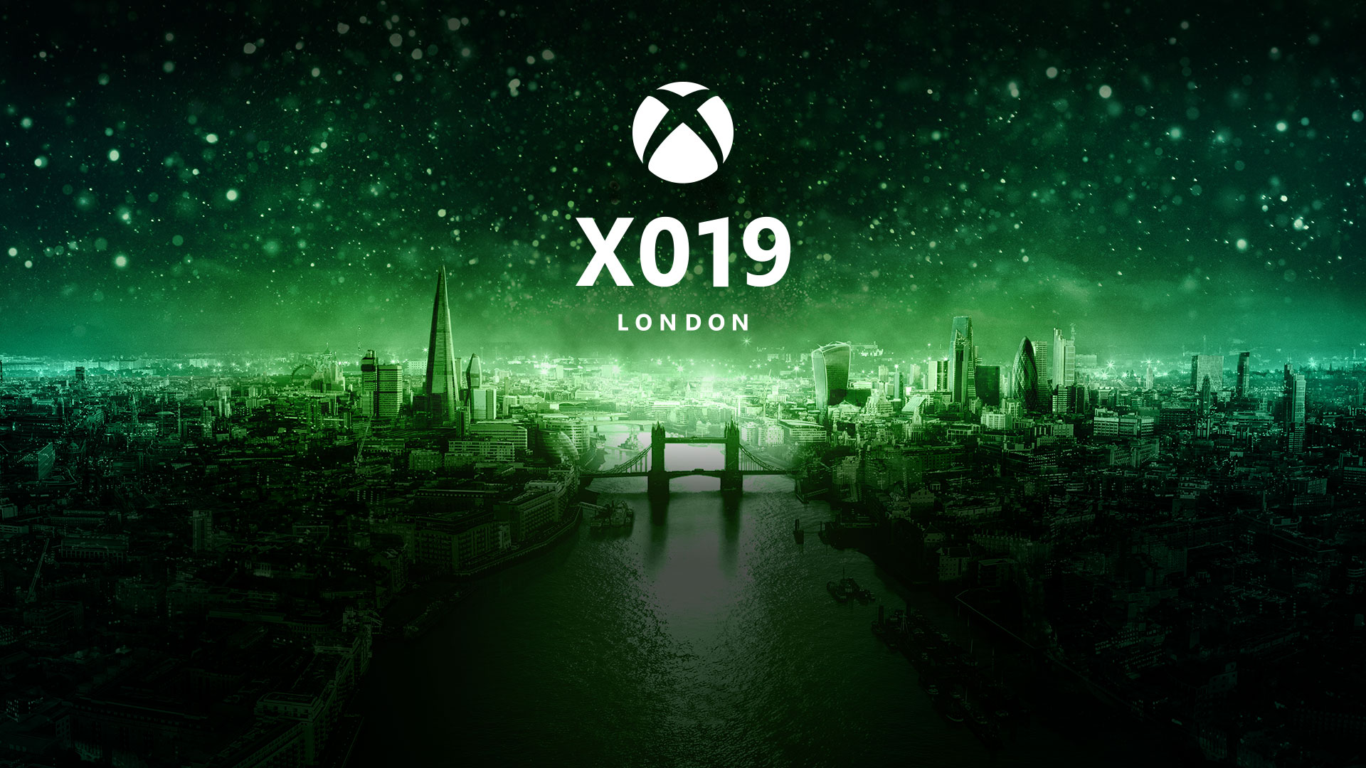 X019 London, a green-tinted image of London's cityscape with an Xbox logo over it