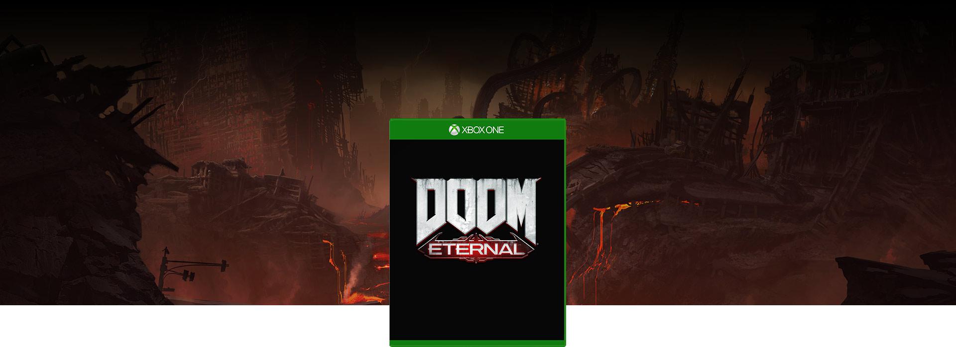 DOOM Eternal-coverbilde, bakgrunn med tentakler som kommer ut av lava i helvete