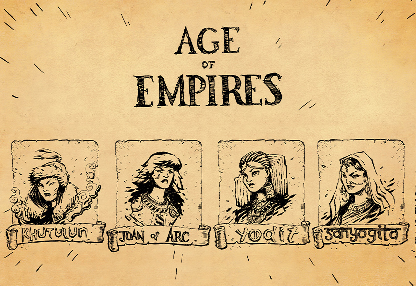 Age of Empires. Ink sketches of Khutulun, Joan of Arc, Yodit, and Sanyogita.
