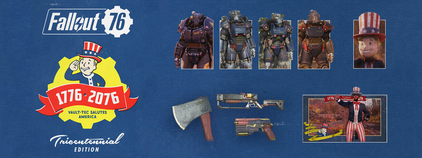 Fallout 76, spectacularly handsome vault boy saluting with a tricentennial banner, and a collage of power armour and weapons on a blue textured background