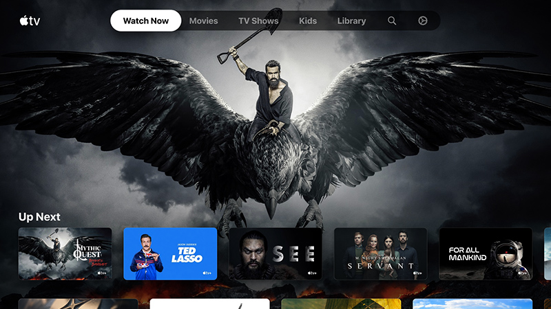 television screen featuring the apple tv user interface with multiple movies and tv shows.