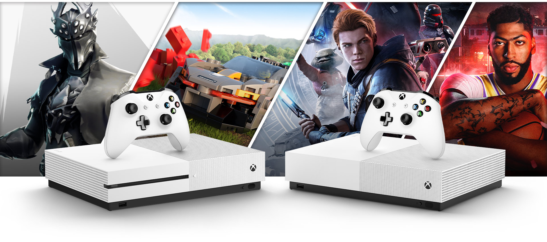 Grafikk fra Fortnite, Forza Horizon 4, Star Wars Jedi Fallen Order og NBA 2K20 bak en Xbox One S og Xbox One S All Digital Edition
