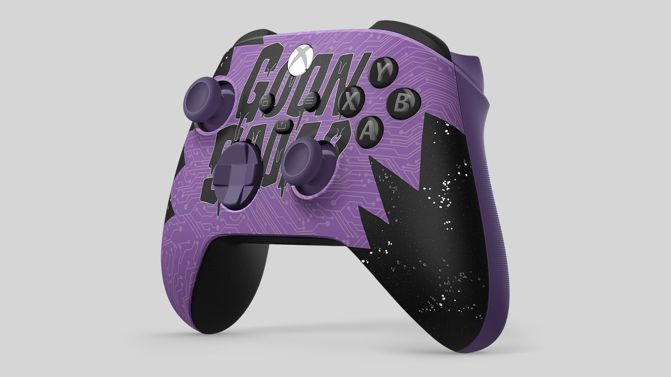 Purple and black Space Jam A New Legacy Goon Squad Exclusive Edition Xbox Wireless Controller, with cartoon members of the Goon Squad