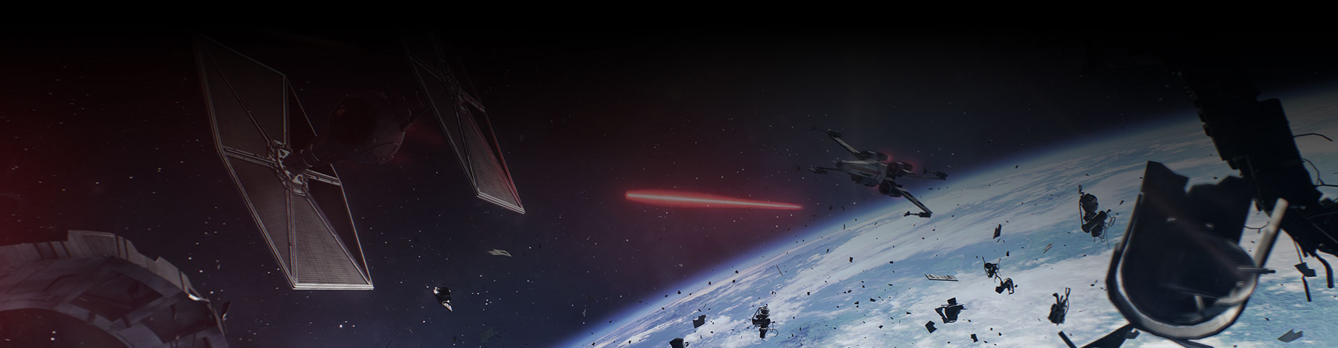 An X-wing shoots at a TIE fighter in a galactic scale space battle