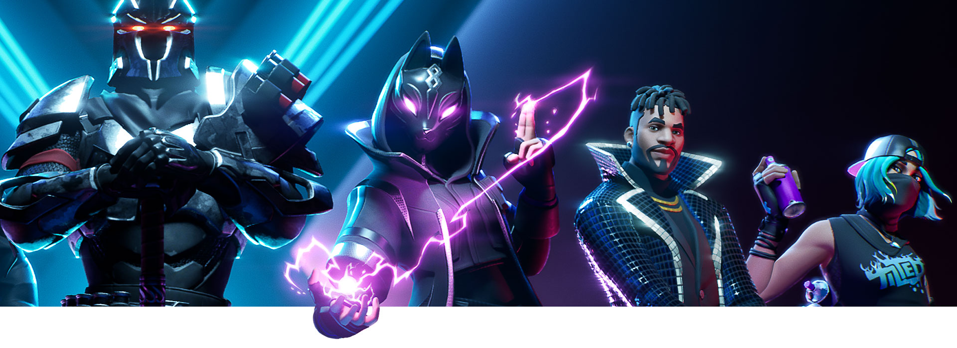 Four Fortnite characters posing