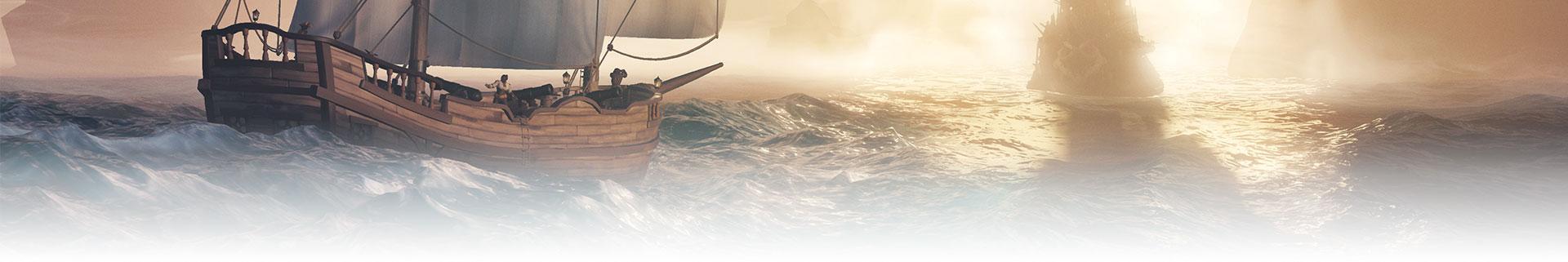Achteraanzicht van twee schepen die wegdrijven in de achtergrond