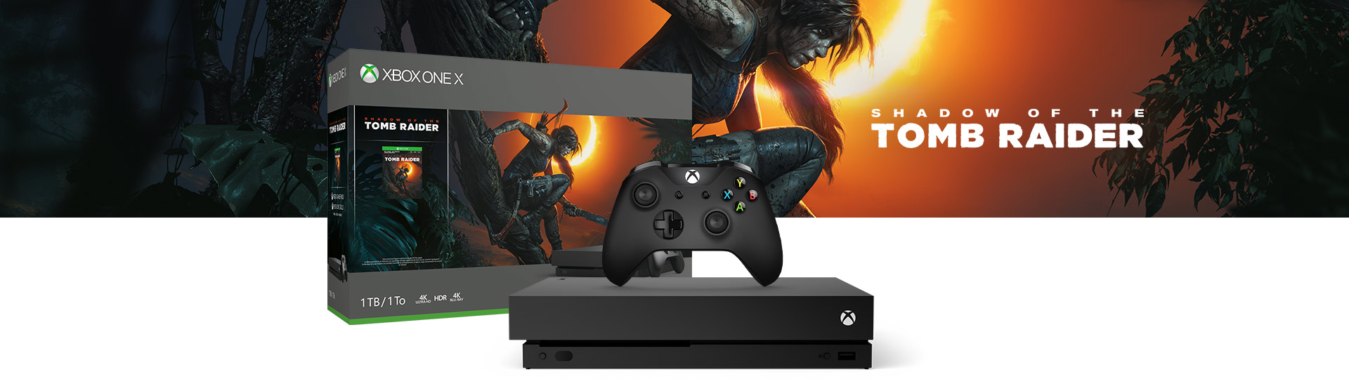 Xbox One X et manette à côté de la boîte de produit du pack Xbox One X (1 To) + Shadow of the Tomb Raider.