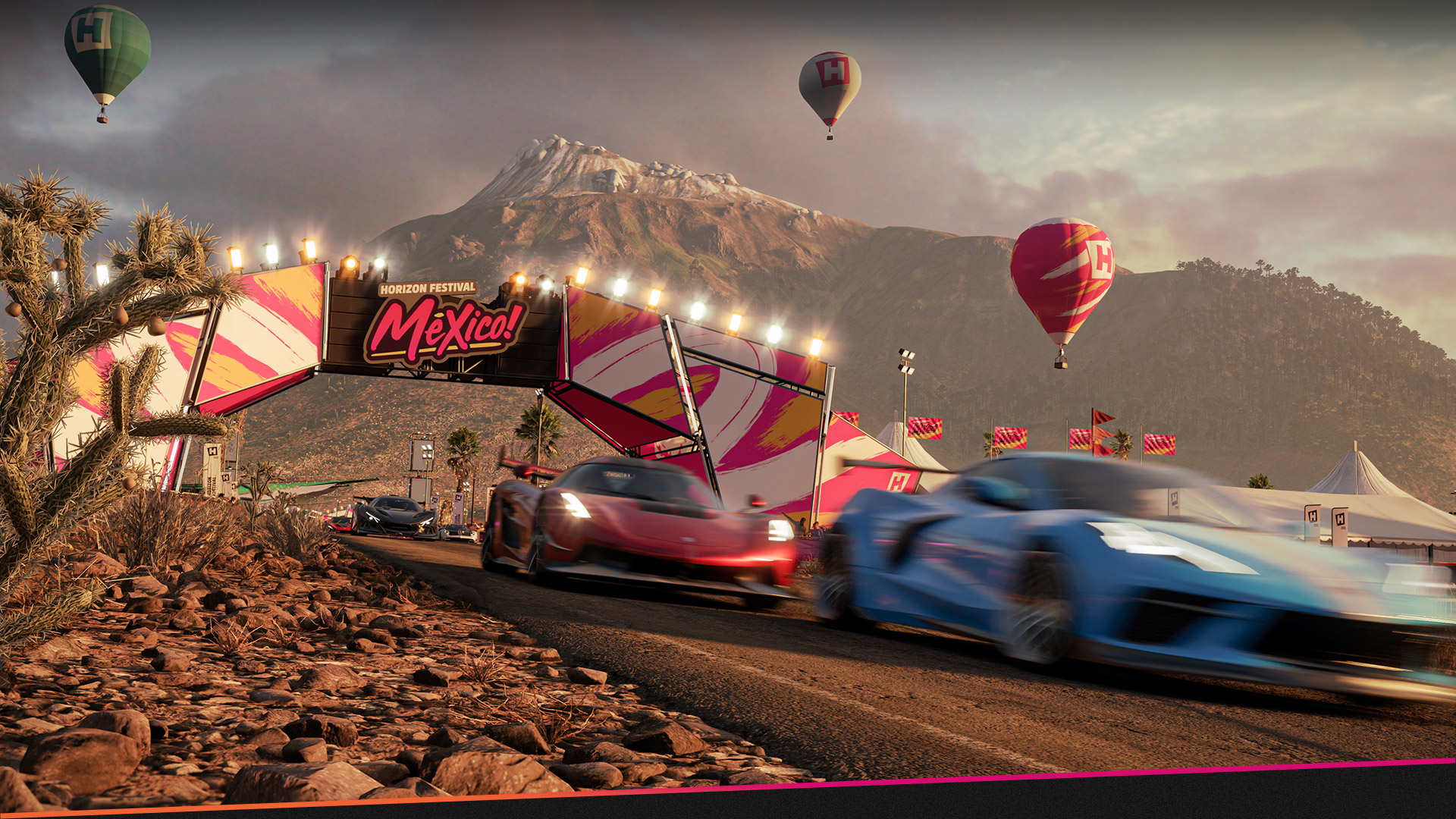 Cars racing through a Horizon Festival Mexico! Finish line in a desert with hot air balloons and a mountain.
