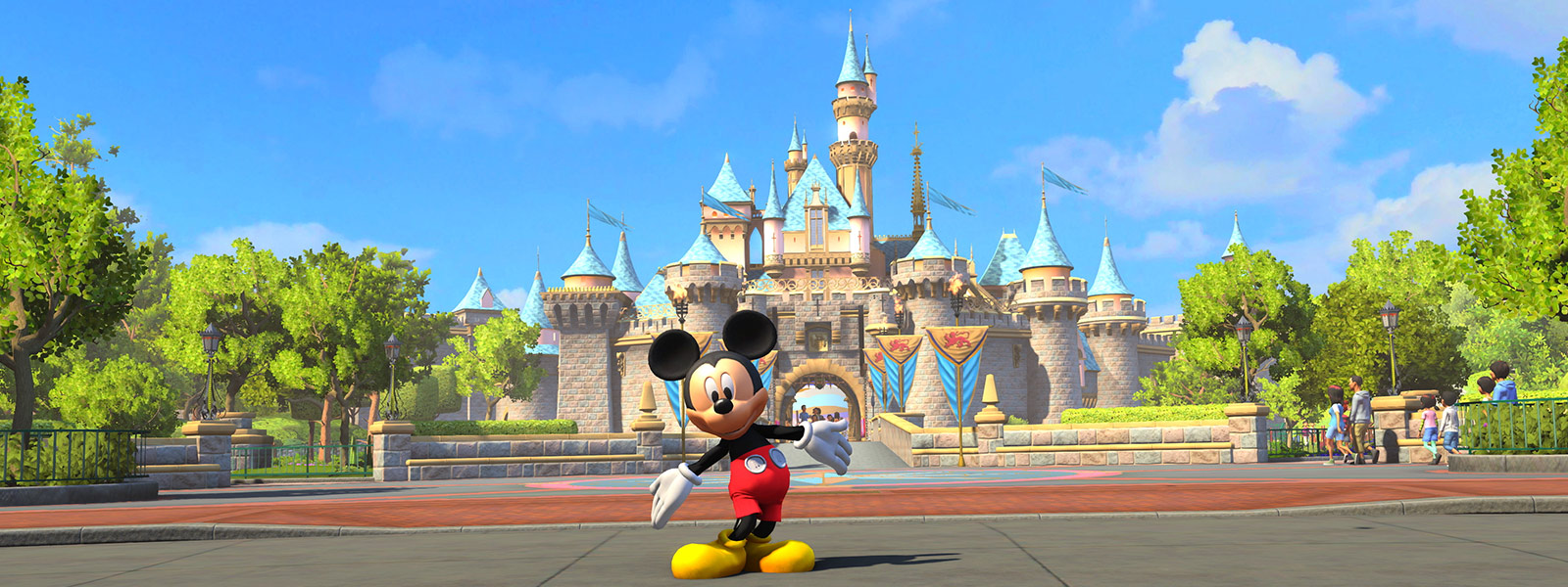 Disneyland Park: Mickey Mouse standing in front of Sleeping Beauty Castle