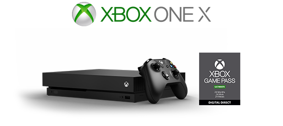 Xbox One X logo, Xbox One X console with 24-month Game Pass box