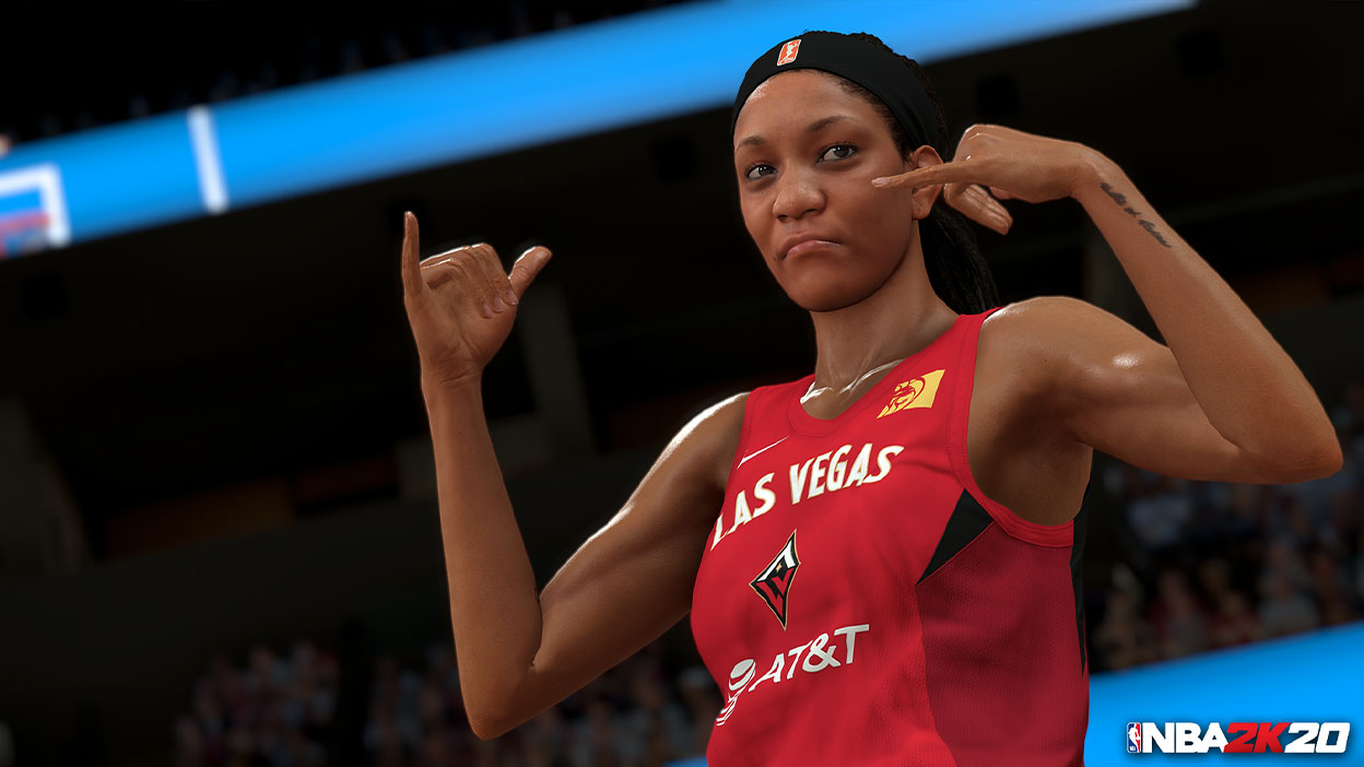 Las Vegas WNBA player posing on the court.