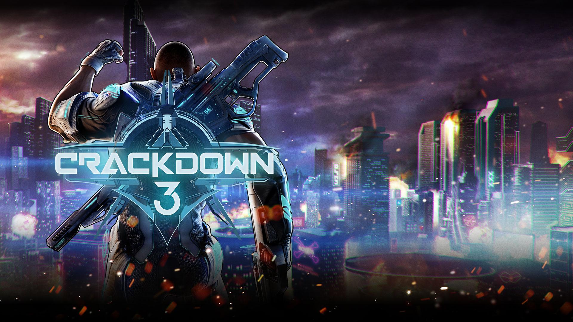 Crackdown 3, Commander Jaxon raises his fist over a city scene.