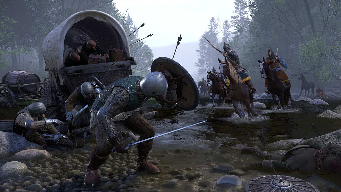Man blocks arrow with shield as cavalry shoot at him