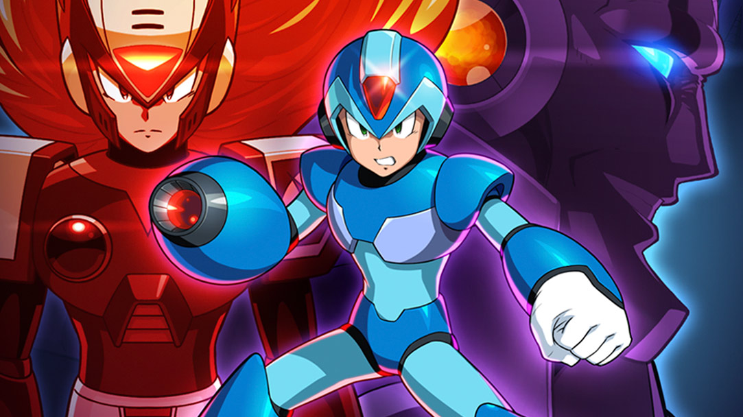 Mega Man X grimaces in front of a background featuring Zero and Sigma
