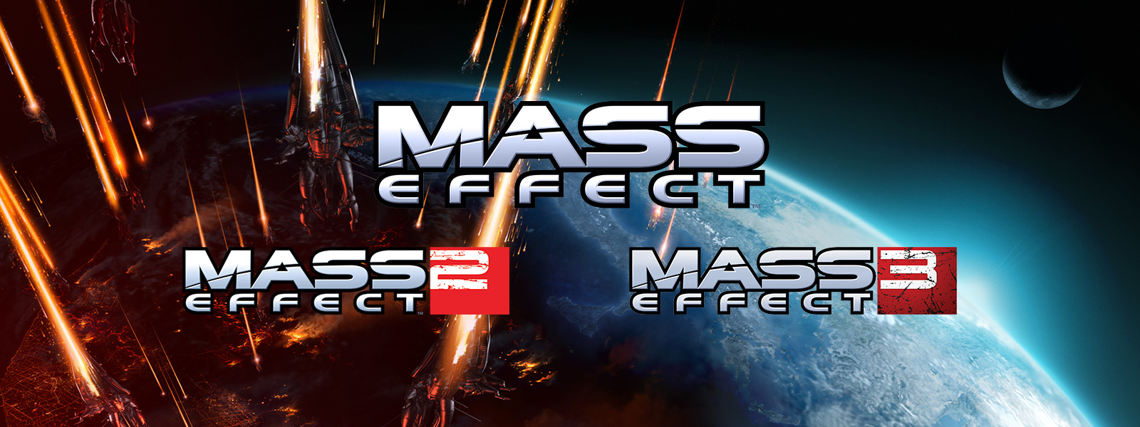 Mass Effect Backward Compatibility: Mass Effect, Mass Effect 2 and Mass Effect 3, background shot of planet with ships aiming towards it