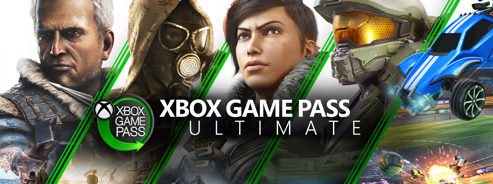 Xbox Game Pass Ultimate, een collage van Xbox-personages en voertuigen achter het Xbox Game Pass-logo