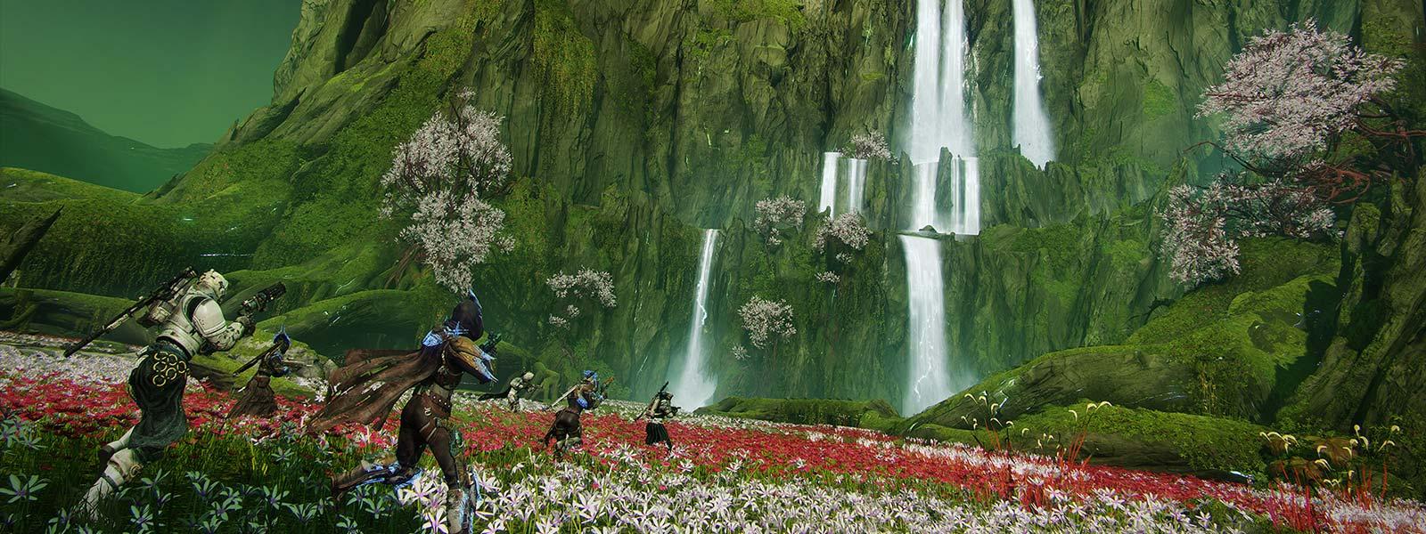 Six personnages dans un champ, se dirigeant vers les chutes d'eau