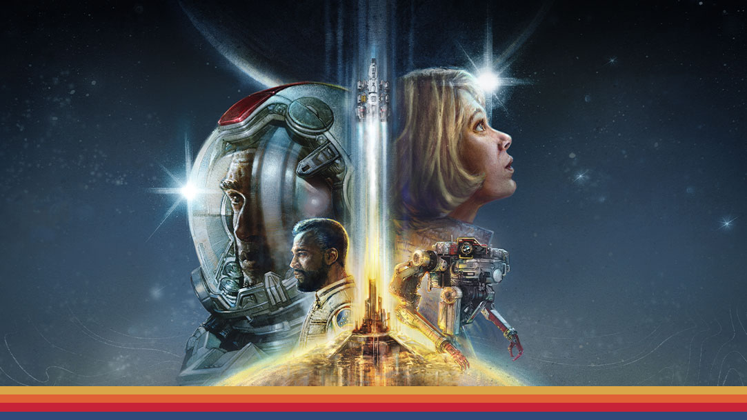 Four characters superimposed facing to the left and right side with a rocket ship taking off in the middle with a space background
