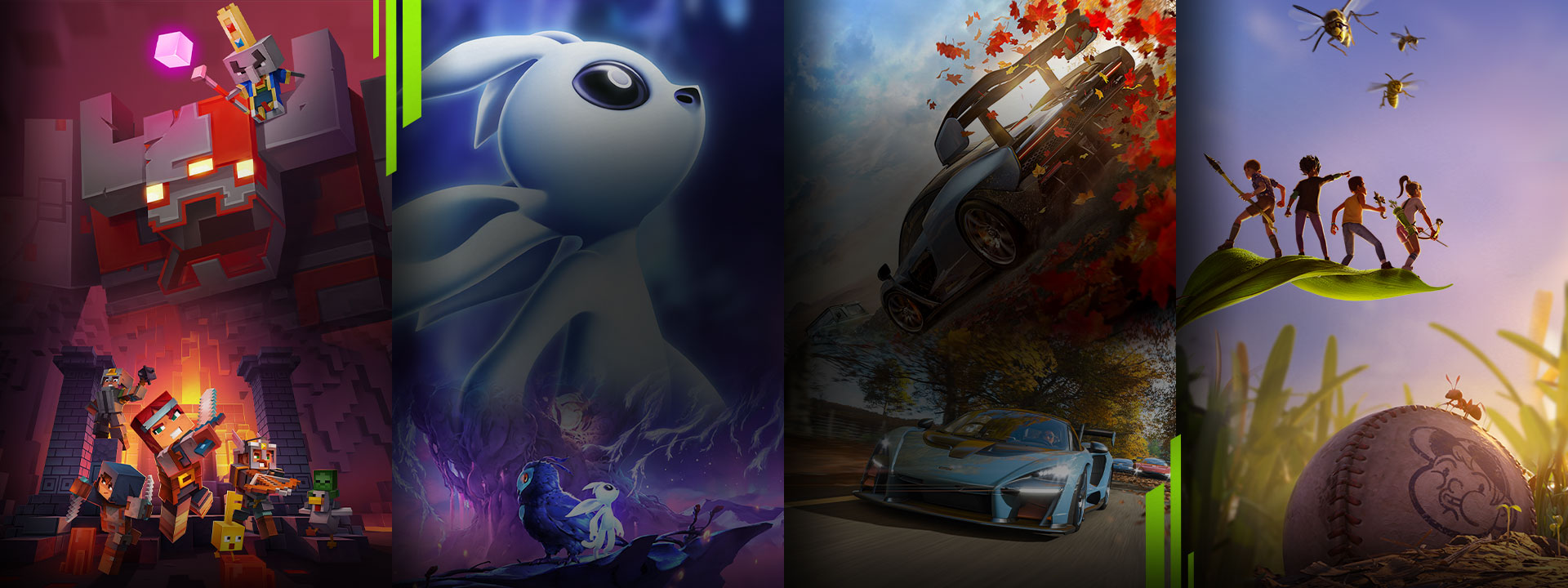 A selection of games available with Xbox Game Pass including Minecraft: Dungeons, Ori and the Will of the Wisps, Forza Horizon 4 and Grounded.