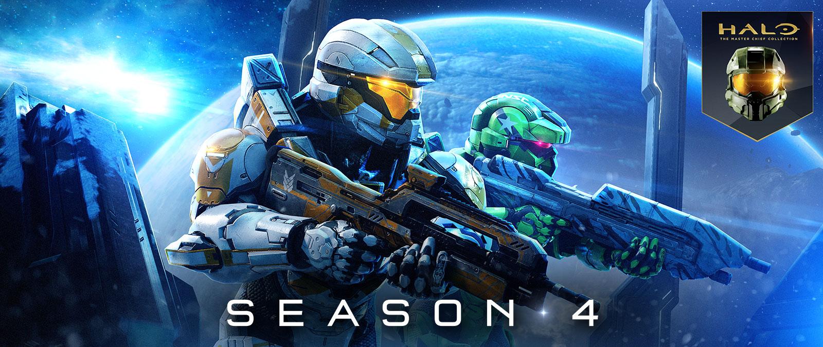 Halo: The Master Chief Collection, Season 4, Δύο Spartan στέκονται δίπλα-δίπλα έτοιμοι για μάχη, ενώ στο φόντο υπάρχει ένας μεγάλος πλανήτης.