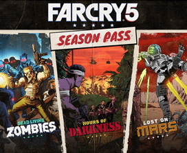 Season Pass Far Cry 5, collage de 3 illustrations de style bande dessinée.