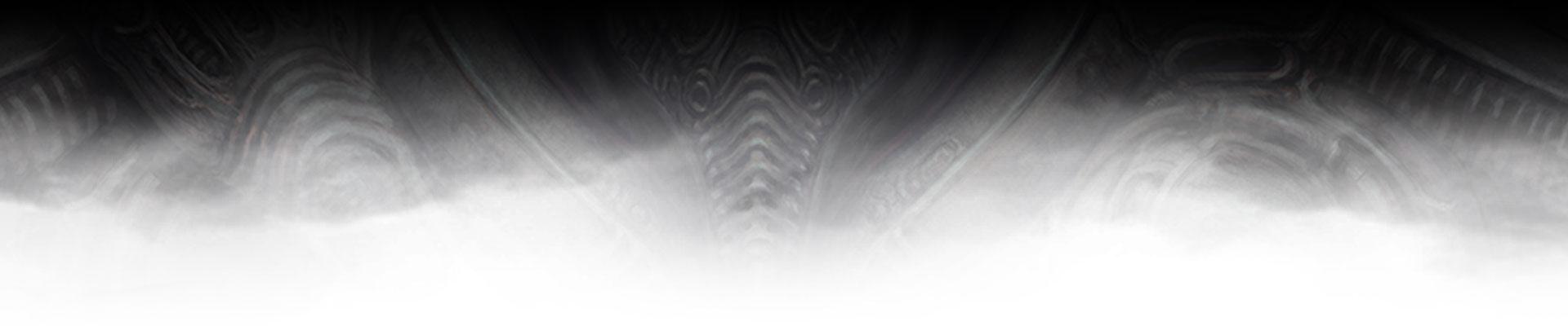 Moldura intrincada em preto desvanecendo para branco em Scorn