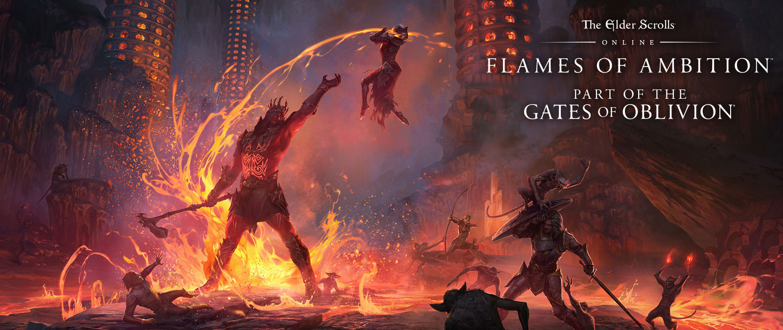 The Elder Scrolls Online: Flames of Ambition. Part of the Gates of Oblivion. Knights fighting demons and a large monster with lava.