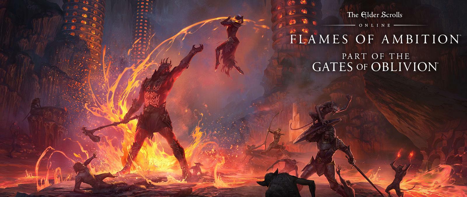 The Elder Scrolls Online: Flames of Ambition. Teil von Gates of Oblivion. Ritter kämpfen gegen Dämonen und ein großes Monster mit Lava.