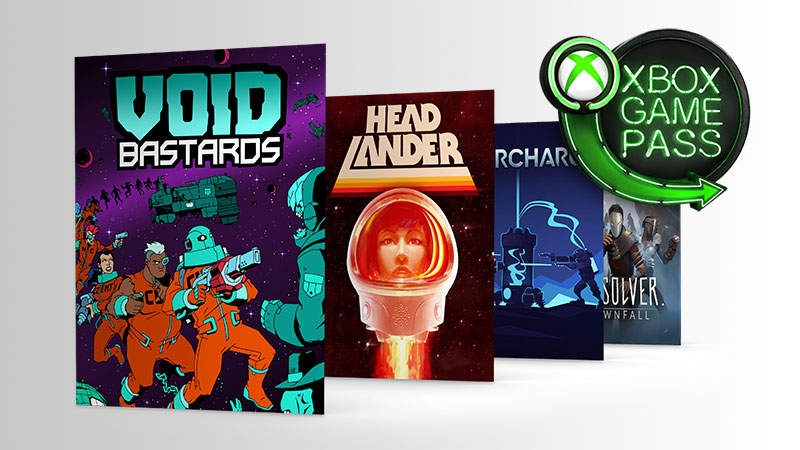 Voif Bastards, Head Lander und Recharge Box Shots neben dem Xbox Game Pass Logo