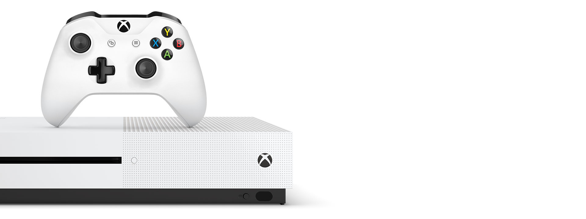 Front View of an Xbox One S and white Xbox One Wireless Controller