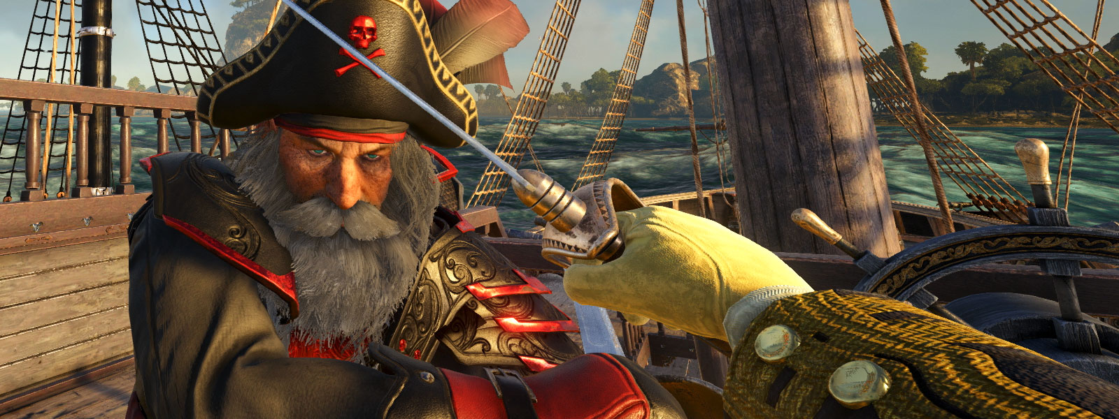 First person view of a character fighting a pirate with a sword on the deck of a ship in the water