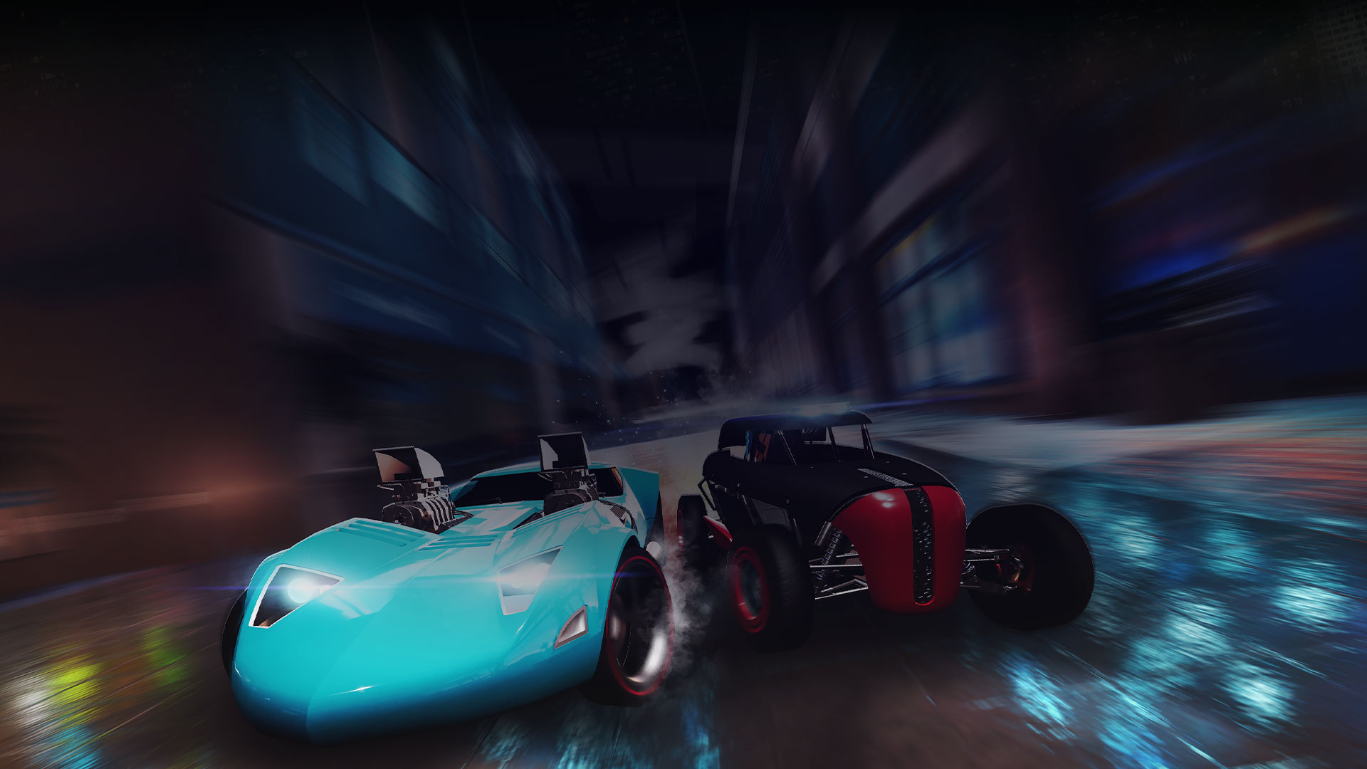 Two cars racing down a street