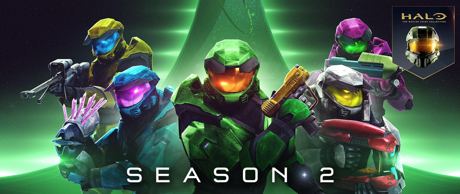 Halo: The Master Chief Collection, Season 2, 5 Spartan από το Halo Combat Evolved κρατούν πολύχρωμα όπλα όπως το needler και το πιστόλι